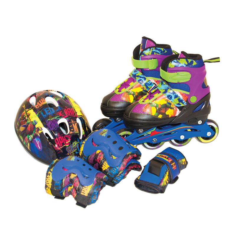 Купить Комплект роликовых коньков и защиты из серии «Черепашки-ниндзя», размер 34-37, Gulliver