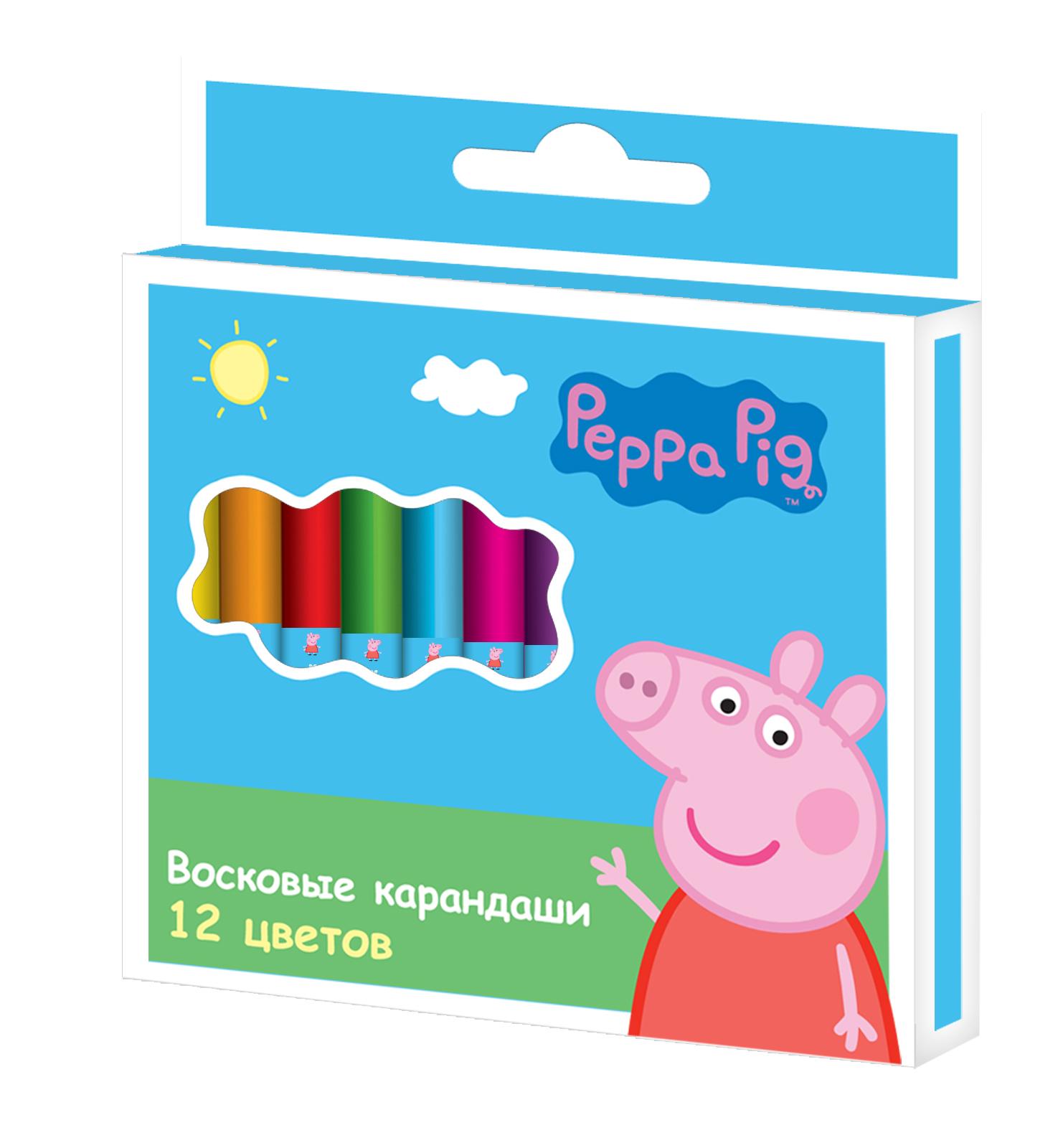 Восковые карандаши «Свинка Пеппа», 12 штукКарандаши<br>Восковые карандаши «Свинка Пеппа», 12 штук<br>