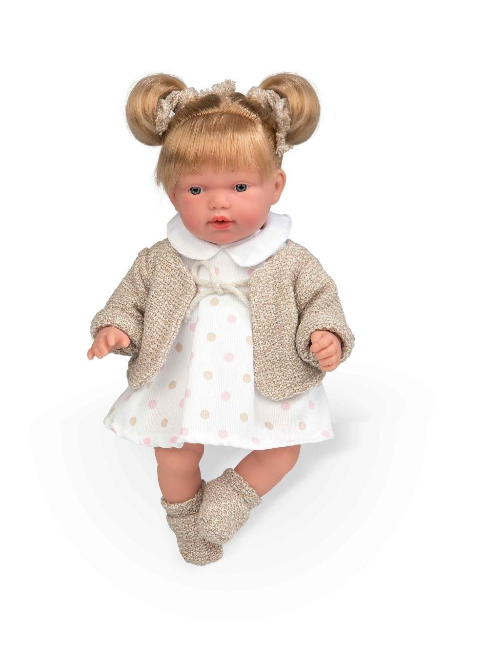 Интерактивная кукла из коллекции Elegance, 28 см, с мягким телом, хвостиками, соской, в платьице в крупный горошек, смеется