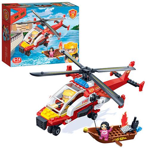 Конструктор - Пожарный вертолет, 191 детальКонструкторы BANBAO<br>Конструктор - Пожарный вертолет, 191 деталь<br>