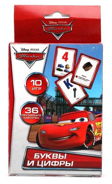 Купить Карточки развивающие из серии «Тачки Дисней» – Учим алфавит и цифры, 36 карточек, Умка