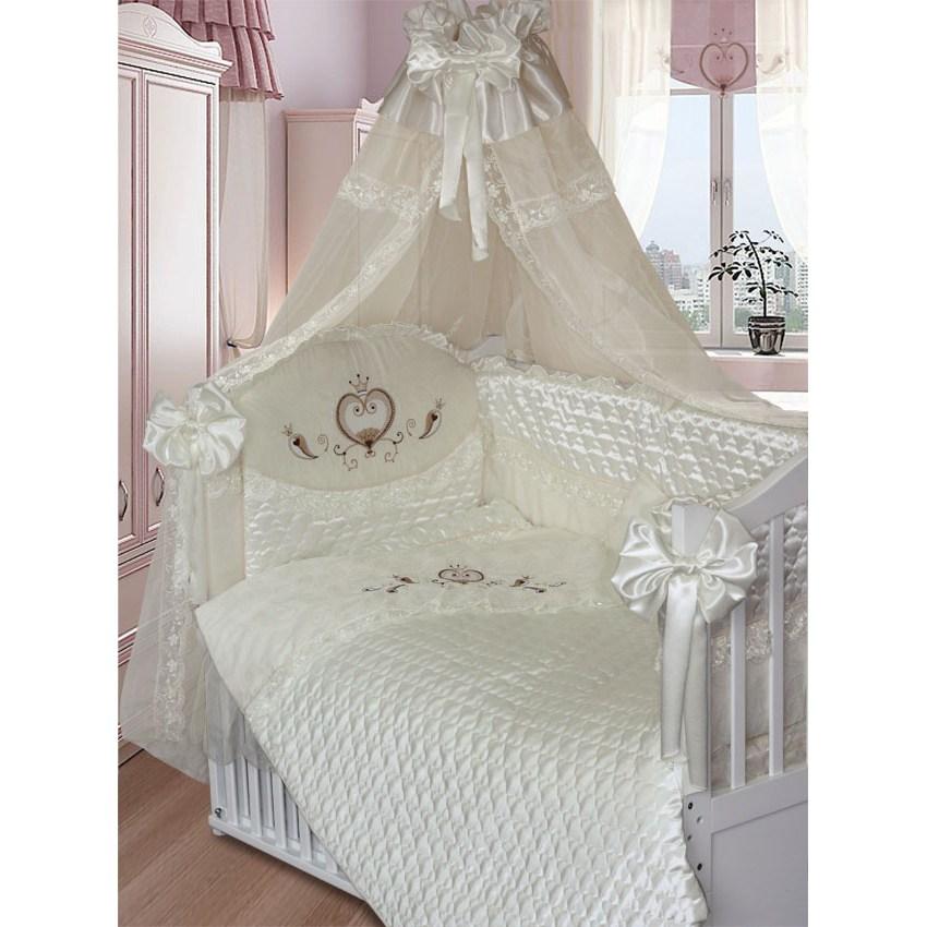 Комплект в кроватку – Эстель, 8 предметов, бежевыйДетское постельное белье<br>Комплект в кроватку – Эстель, 8 предметов, бежевый<br>