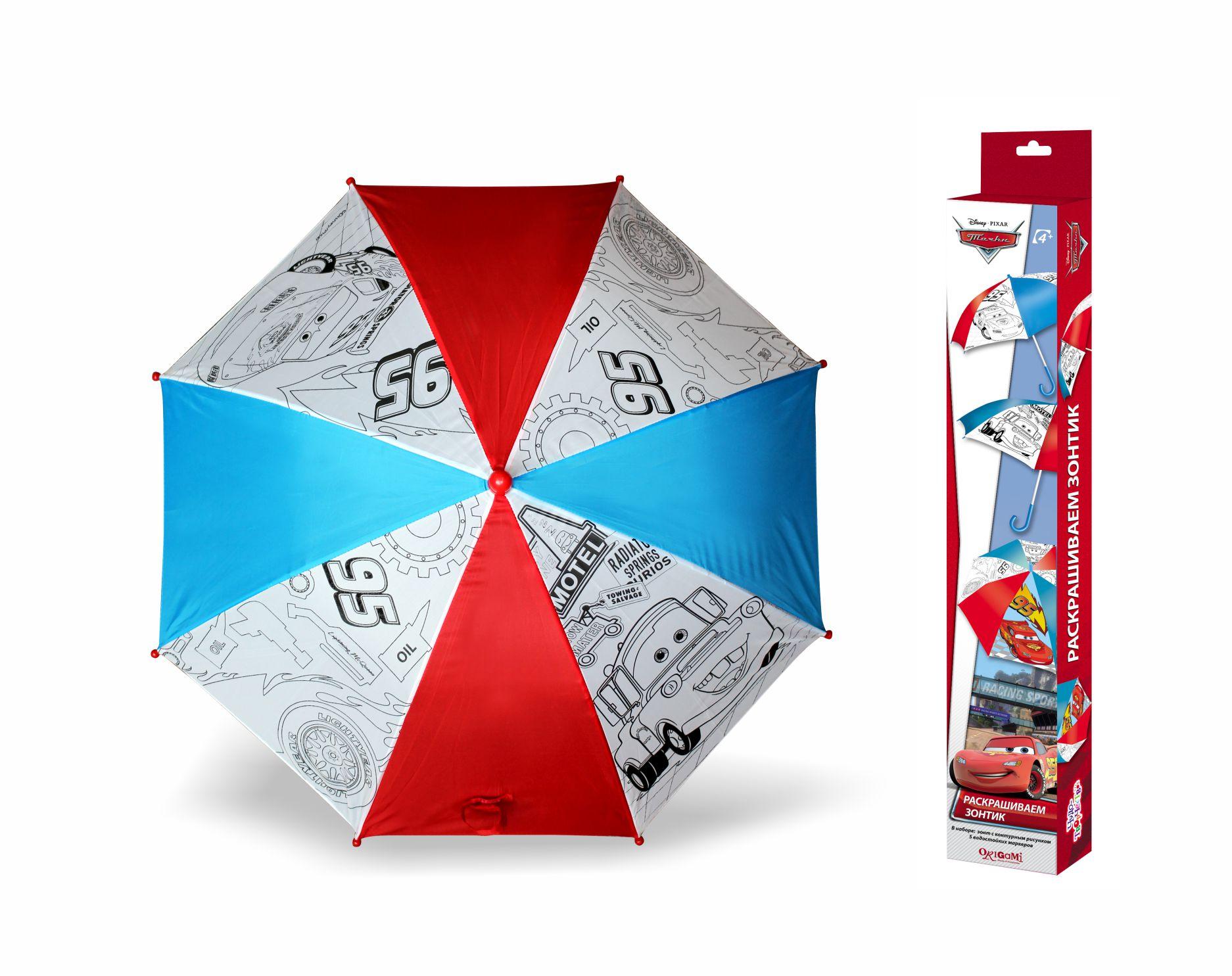 Зонтик для раскрашивания из серии Тачки 2. Disney - Молния МакКуин и МэтрДетские зонты<br>Зонтик для раскрашивания из серии Тачки 2. Disney - Молния МакКуин и Мэтр<br>
