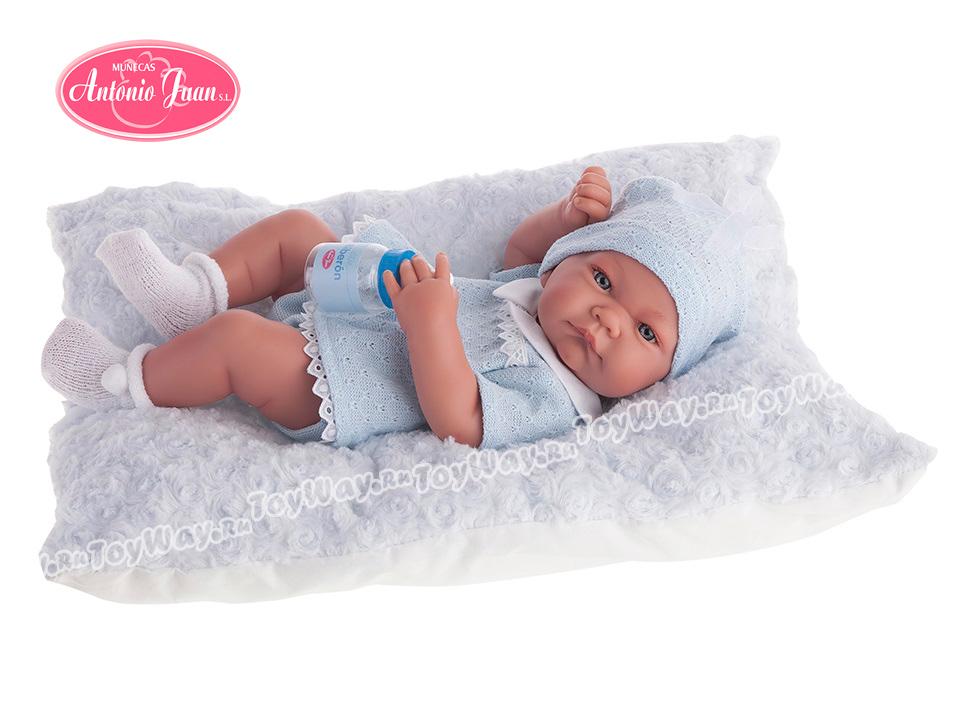 Кукла-младенец Нико, мальчик, в голубом, 42 см.Куклы Антонио Хуан (Antonio Juan Munecas)<br>Кукла-младенец Нико, мальчик, в голубом, 42 см.<br>