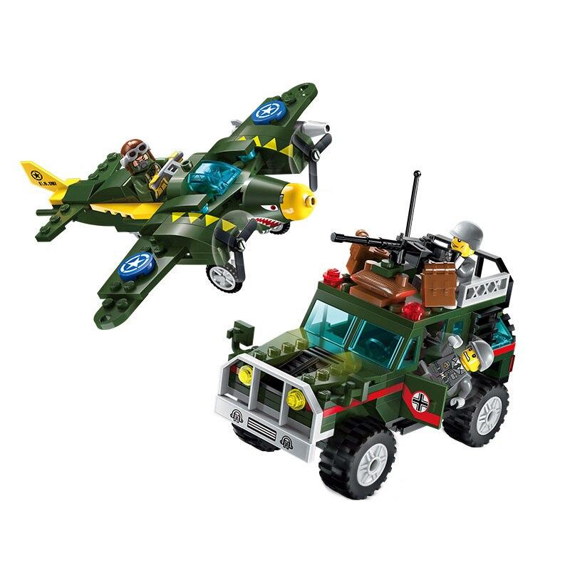 Конструктор – Военная машина и самолет с фигурками, 241 деталь по цене 599