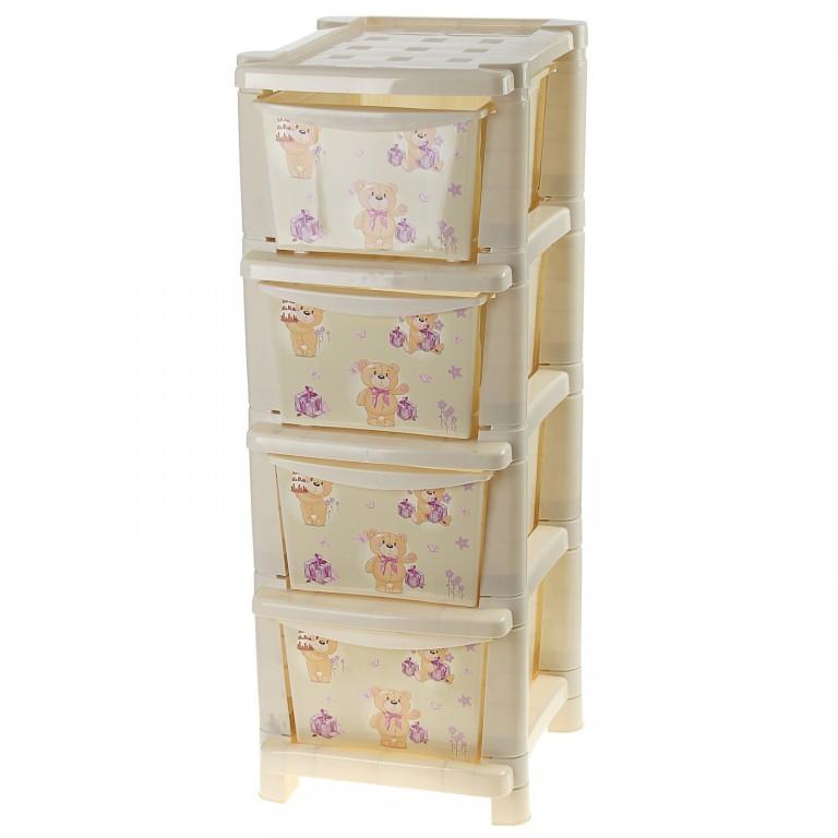 Комод для детской комнаты Bears, слоновая костьКорзины для игрушек<br>Комод для детской комнаты Bears, слоновая кость<br>