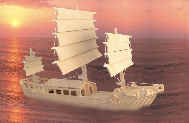 Сборная деревянная модель - Корабль ДжонкаПазлы объёмные 3D<br>Сборная деревянная модель - Корабль Джонка<br>