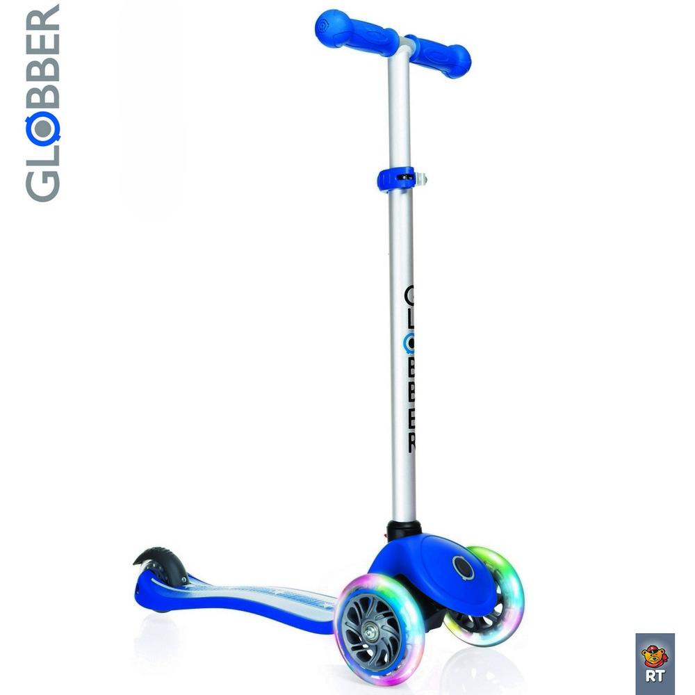 Купить Самокат Y-SCOO Globber Primo Fantasy с 3 светящимися колесами Stars&Strips Navy Blue