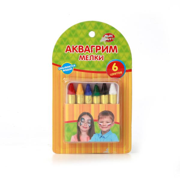 Аквагрим – мелки Multiart, 6 цветовГрим для лица и тату<br>Аквагрим – мелки Multiart, 6 цветов<br>