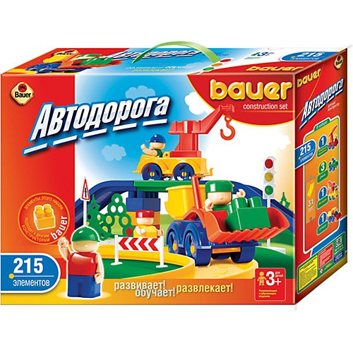 Автодорога New, 215 элементов - Конструкторы Bauer Кроха (для малышей), артикул: 127396