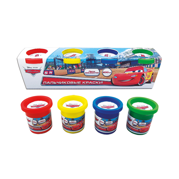 Пальчиковые краски Disney – Тачки, 4 цветаCARS 3 (Игрушки Тачки 3)<br>Пальчиковые краски Disney – Тачки, 4 цвета<br>