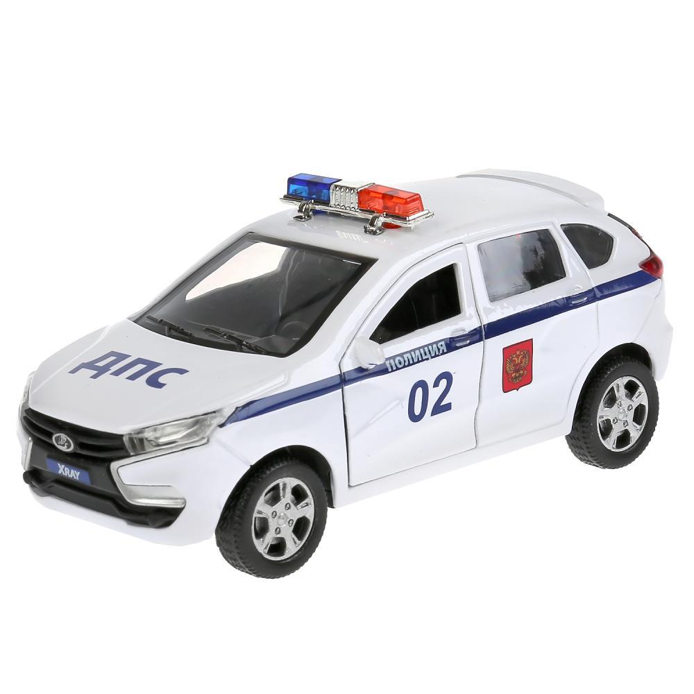Купить Машина металлическая Lada Xray Полиция 12 см, открываются двери, инерция, белая, Технопарк
