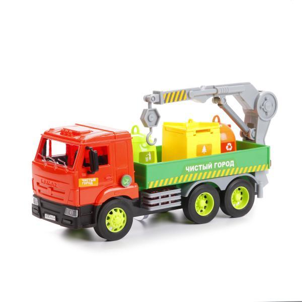 Купить Машина Камаз мусоровоз пластиковый 25 см, открываются двери, звук и свет sim), Технопарк