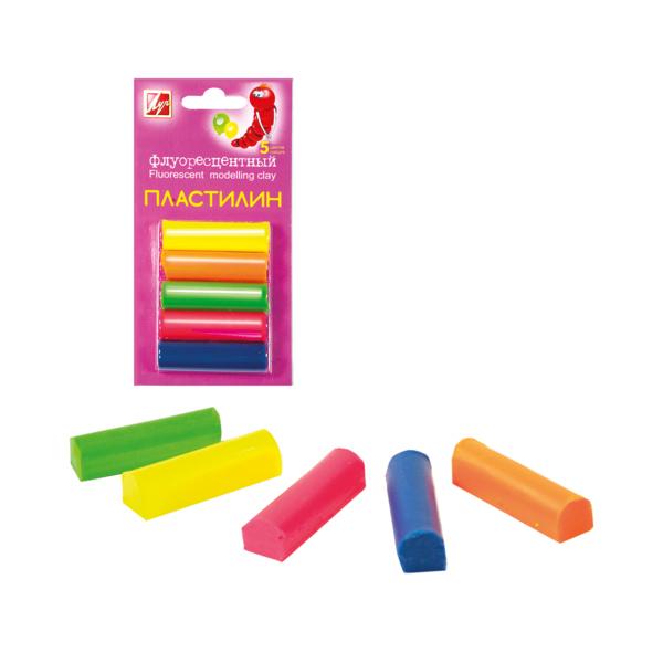 Пластилин флуоресцентный 5 цветов, на блистереНаборы для лепки<br>Пластилин флуоресцентный 5 цветов, на блистере<br>