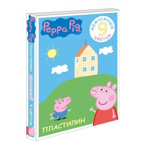 Пластилин жемчужный Свинка Пеппа 9 цветовНаборы для лепки<br>Пластилин жемчужный Свинка Пеппа 9 цветов<br>