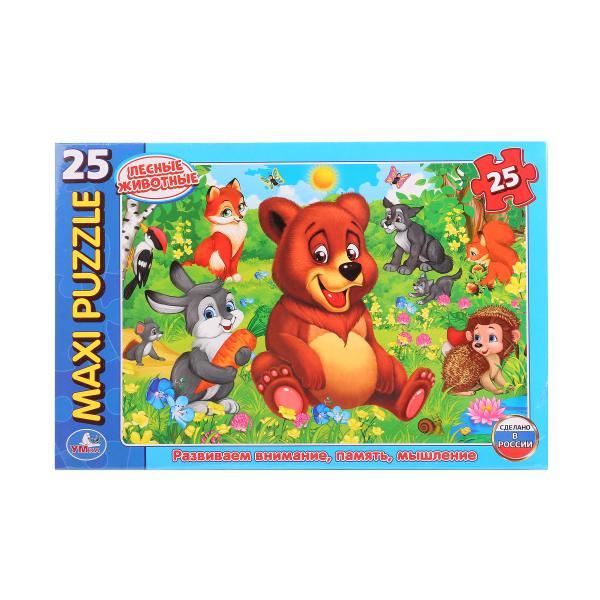 Макси-пазл Лесные животные, 25 картонных деталейПазлы для малышей<br>Макси-пазл Лесные животные, 25 картонных деталей<br>