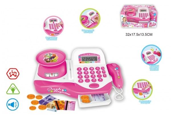 Кассовый аппарат со светом и звукомДетская игрушка Касса. Магазин. Супермаркет<br>Кассовый аппарат со светом и звуком<br>