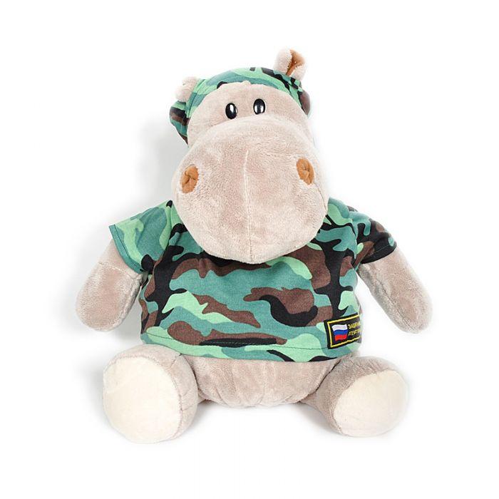 Мягкая игрушка - Бегемот Военный, 50 см.Дикие животные<br>Мягкая игрушка - Бегемот Военный, 50 см.<br>