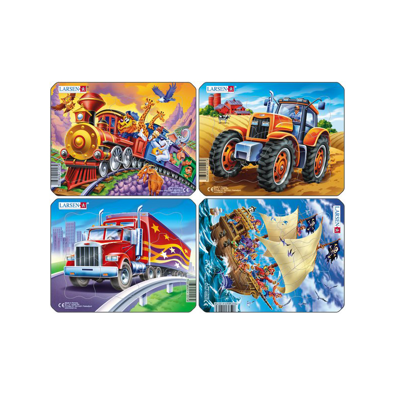 Пазл - Пираты-Трактор-Грузовик-Поезд, 8 деталей