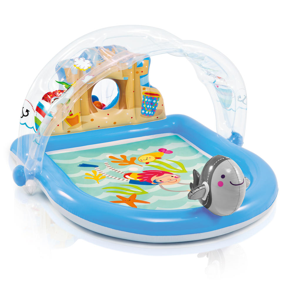 Надувной игровой центр с навесом - МорскойДетские надувные бассейны<br>Надувной игровой центр с навесом - Морской<br>