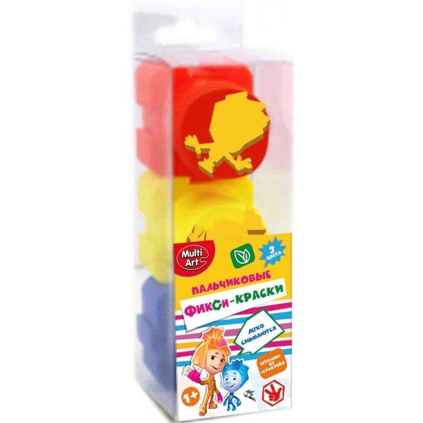 Пальчиковые краски со штампами – Фиксики, 3 цвета