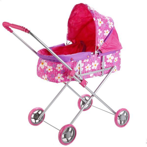 Коляска для кукол со съемной люлькой, розовая в цветочекКоляски для кукол<br>Коляска для кукол со съемной люлькой, розовая в цветочек<br>