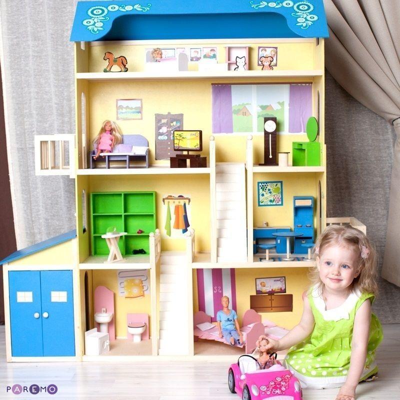 Купить Кукольный домик для Барби – Лира, 28 предметов мебели, 2 лестницы, гараж, Paremo