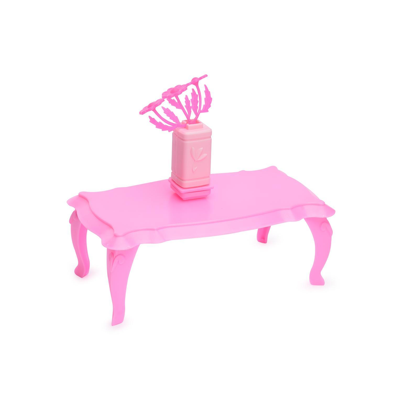 Мебель для куклы - Cтолик журнальный с цветами, розовыйКукольные домики<br>Мебель для куклы - Cтолик журнальный с цветами, розовый<br>