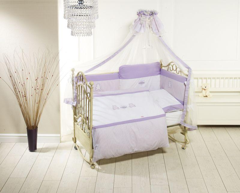 Комплект постельного белья Orsetti лонг, 6 предметов, бело-фиолетовыйДетское постельное белье<br>Комплект постельного белья Orsetti лонг, 6 предметов, бело-фиолетовый<br>