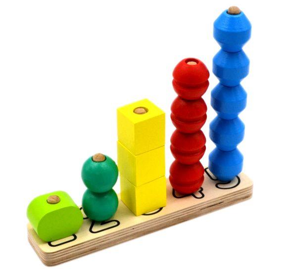 Пирамидка - Счеты 15 деталей, 5 геометрических форм и 5 цветовСортеры, пирамидки<br>Пирамидка - Счеты 15 деталей, 5 геометрических форм и 5 цветов<br>