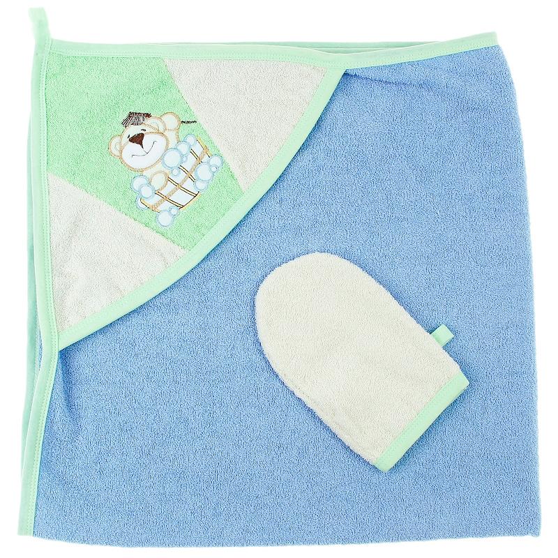 Пеленка-полотенце с варежкой - Забавный мишка, голубойПолотенца и халаты<br>Пеленка-полотенце с варежкой - Забавный мишка, голубой<br>