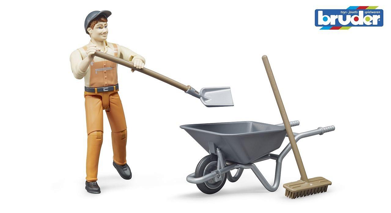 Фигурка работника коммунальной службы с тележкой и аксессуарами фото