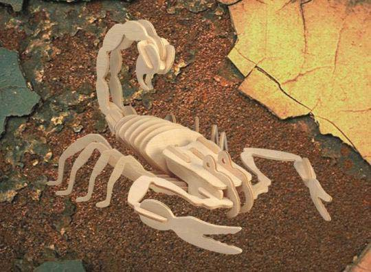 Модель деревянная сборная - СкорпионПазлы объёмные 3D<br>Модель деревянная сборная - Скорпион<br>