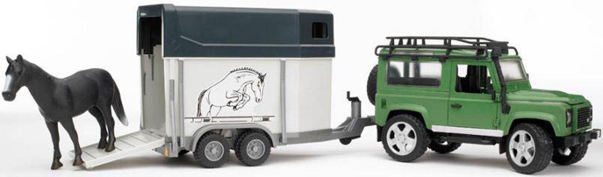 Внедорожник Land Rover Defender с прицепом-коневозкой и лошадью - Игрушки Bruder, артикул: 9131