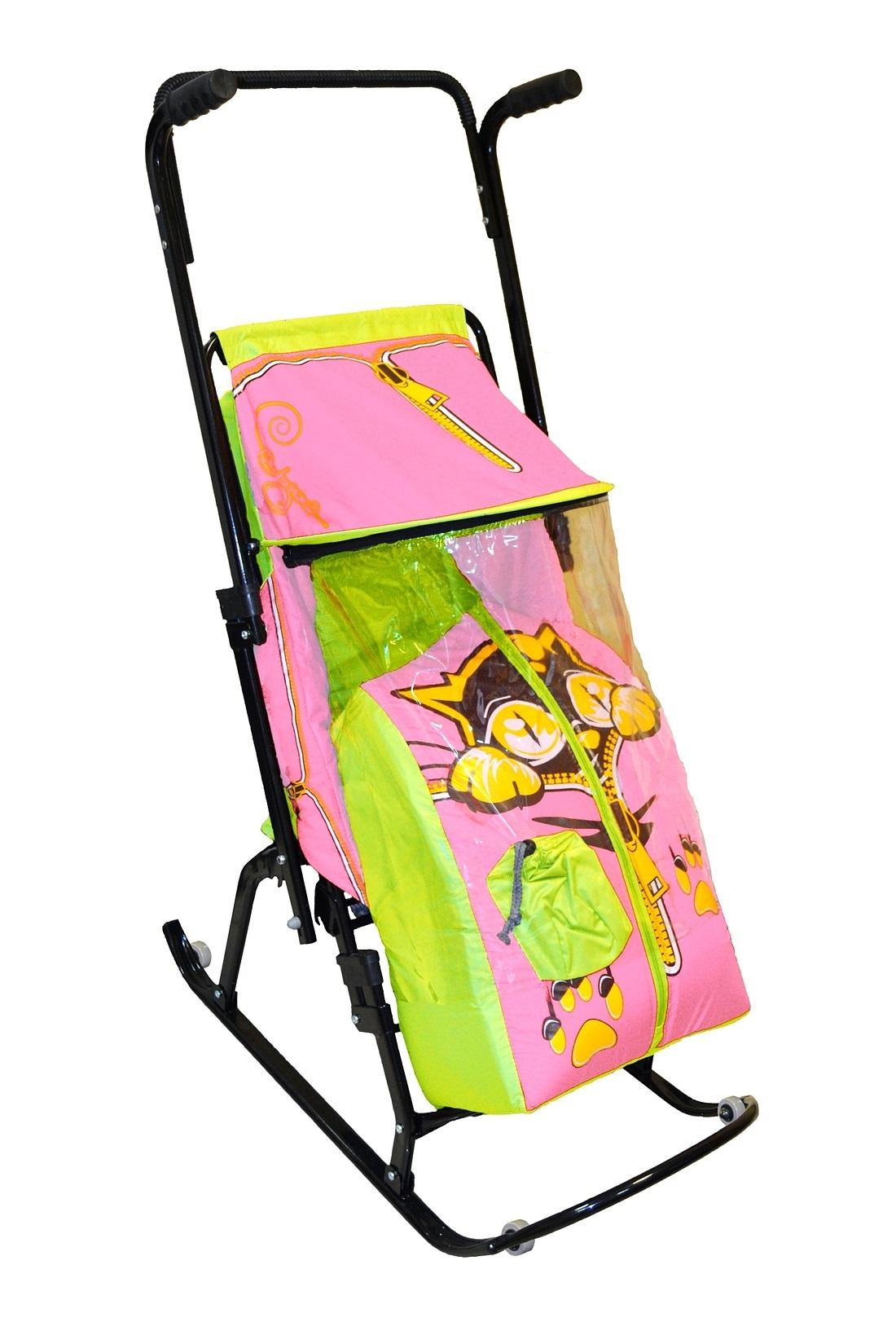 Санки-коляска Снегурочка 4-Р Котенок с 4 колесиками, салатовый-розовыйСанки и сани-коляски<br>Санки-коляска Снегурочка 4-Р Котенок с 4 колесиками, салатовый-розовый<br>