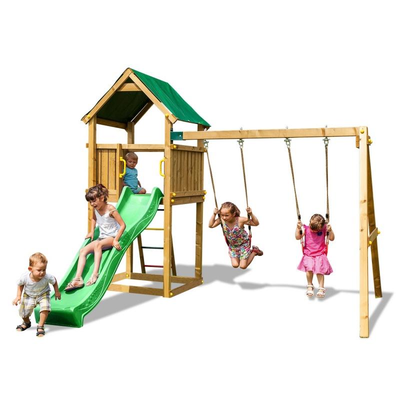 Набор для игровой площадки: детский домик с песочницей, горкой и 2-мя качелямиДетские игровые горки<br>Набор для игровой площадки: детский домик с песочницей, горкой и 2-мя качелями<br>