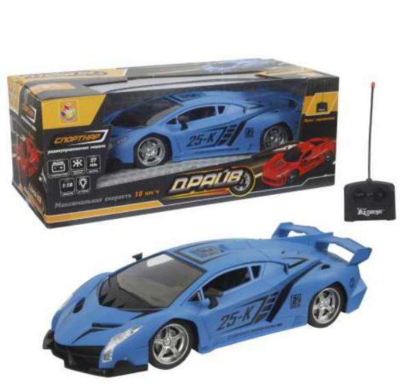 Купить Машина на радиоуправлении Драйв, 1:16, 27 см, свет, матовый синий, 1TOY