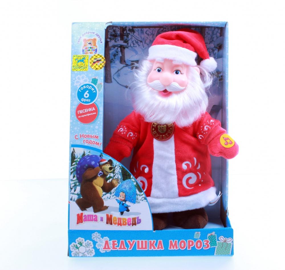 Мягкая игрушка Дед Мороз из серии Маша и медведь, озвученный, с музыкальным чипом, 30 см.Говорящие игрушки<br>Мягкая игрушка Дед Мороз из серии Маша и медведь, озвученный, с музыкальным чипом, 30 см.<br>