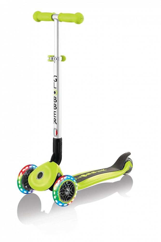 Купить Трехколесный самокат Globber Primo Foldable Lights, зеленый, светящиеся колеса