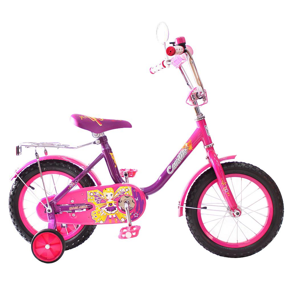Двухколесный велосипед Camilla, диаметр колес 14 дюймов, фиолетовыйВелосипеды детские<br>Двухколесный велосипед Camilla, диаметр колес 14 дюймов, фиолетовый<br>