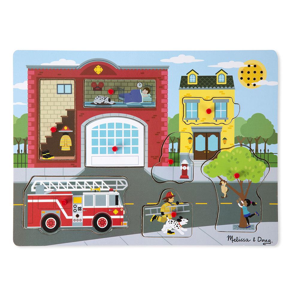 Пазл со звуком  Пожарная часть - Деревянные игрушки, артикул: 164350