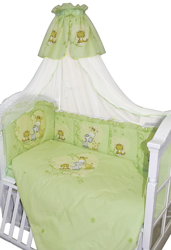 Комплект в кроватку 7 предметов – Сафари, зеленыйДетское постельное белье<br>Комплект в кроватку 7 предметов – Сафари, зеленый<br>