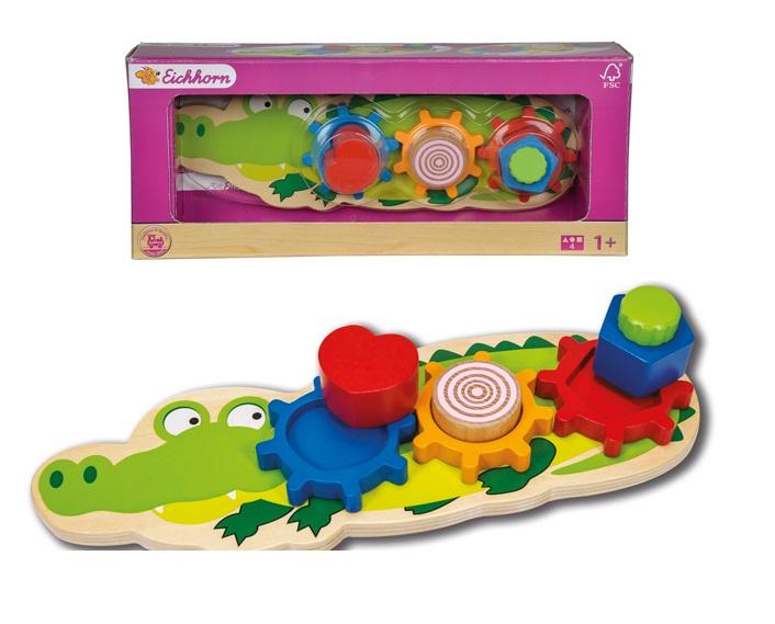 Деревянная рамка-вкладыш - Крокодил, 7 деталейРамки и паззлы<br>Деревянная рамка-вкладыш - Крокодил, 7 деталей<br>