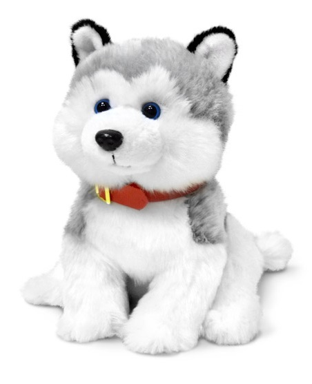 Мягкая игрушка  Хаски сидящий малый, музыкальный, 21 см. - Собаки, артикул: 174439