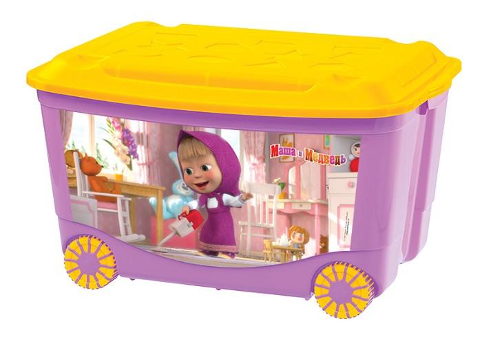 Ящик для игрушек на колесах с аппликацией Маша и Медведь, сиреневыйКорзины для игрушек<br>Ящик для игрушек на колесах с аппликацией Маша и Медведь, сиреневый<br>