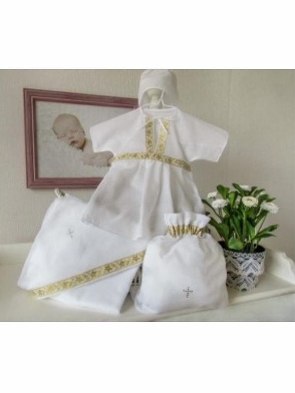 Купить Крестильный набор для девочки Классика 4 предмета, цвет: белый-золото, от 6 до 12 мес., Makkaroni Kids