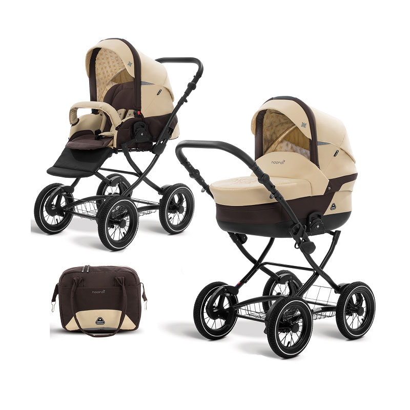 Коляска детская 2 в 1 - Polaris Classic, молочный/коричневый
