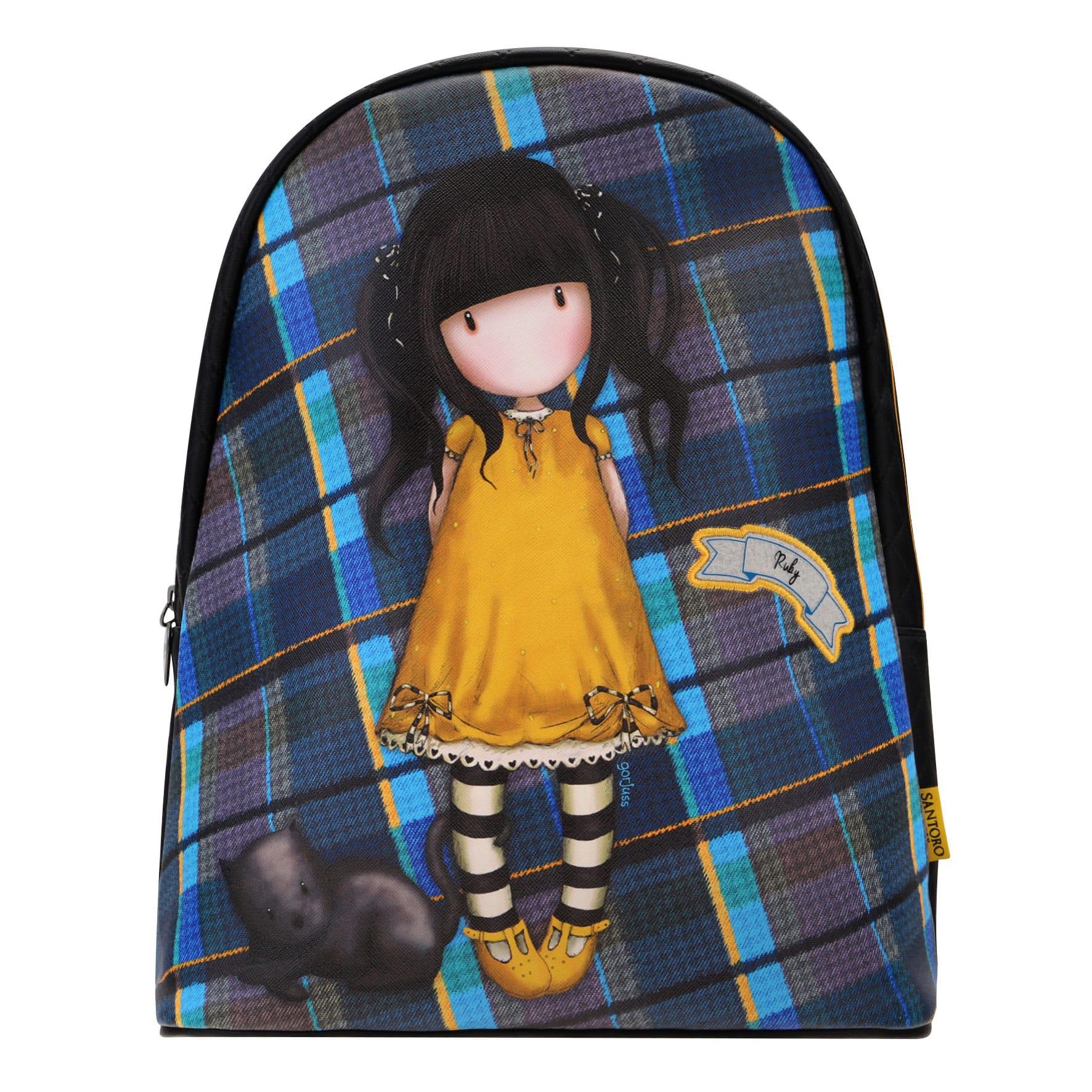 Купить Фэшн рюкзак – Gorjuss Tartan. Ruby Yellow, Santoro London