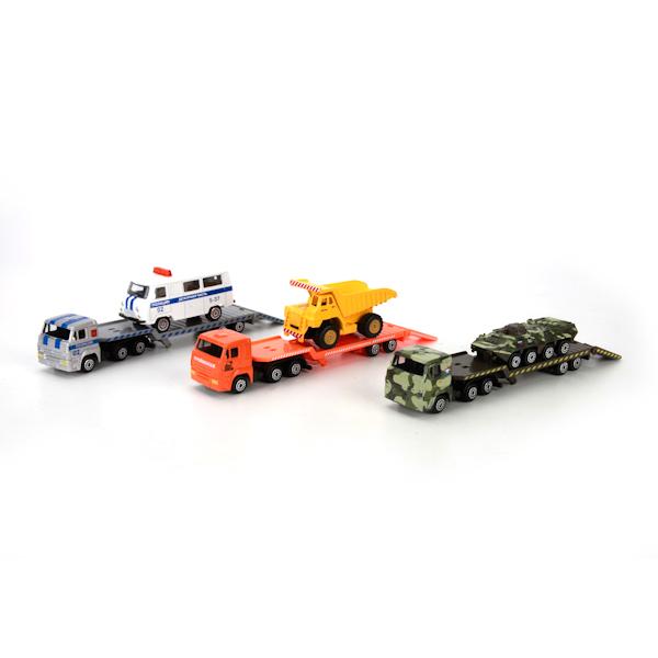 Металлический набор Камаз – транспортер с машинойНаборы машинок<br>Металлический набор Камаз – транспортер с машиной<br>