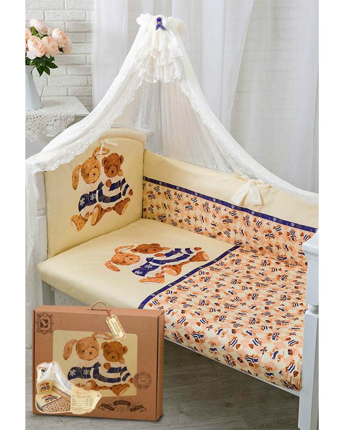 Комплект в кроватку – Умки, бежевыйДетское постельное белье<br>Комплект в кроватку – Умки, бежевый<br>